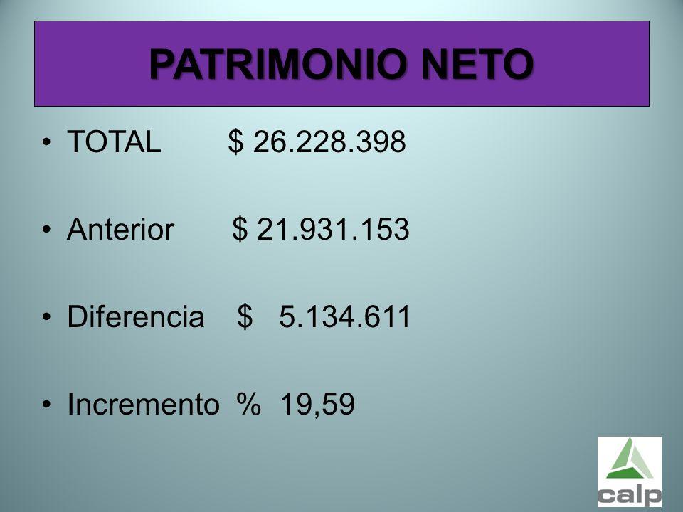 50 PATRIMONIO NETO TOTAL $ 26.228.398 Anterior $ 21.931.153 Diferencia $ 5.134.611 Incremento % 19,59
