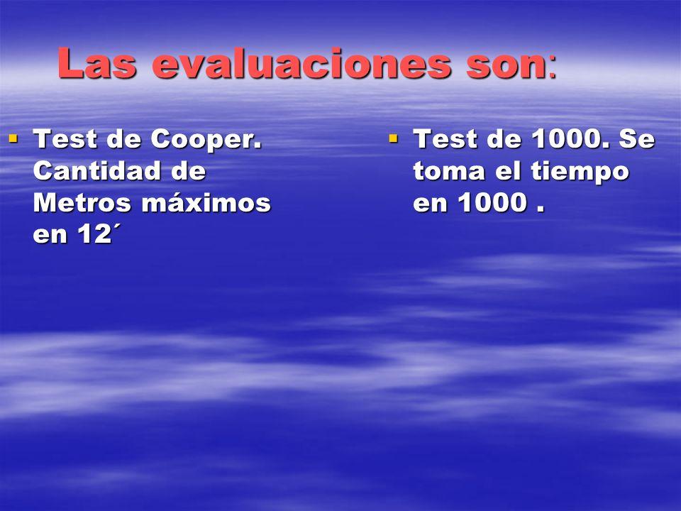 Las evaluaciones son : Test de Cooper. Cantidad de Metros máximos en 12´ Test de Cooper. Cantidad de Metros máximos en 12´ Test de 1000. Se toma el ti