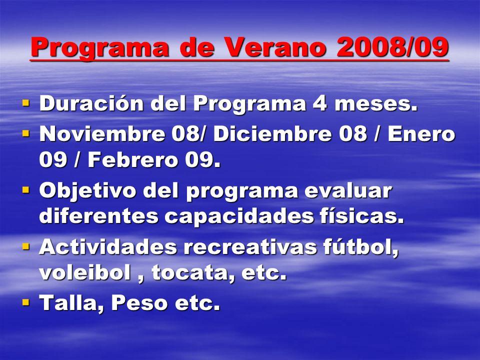 Programa de Verano 2008/09 Duración del Programa 4 meses. Duración del Programa 4 meses. Noviembre 08/ Diciembre 08 / Enero 09 / Febrero 09. Noviembre