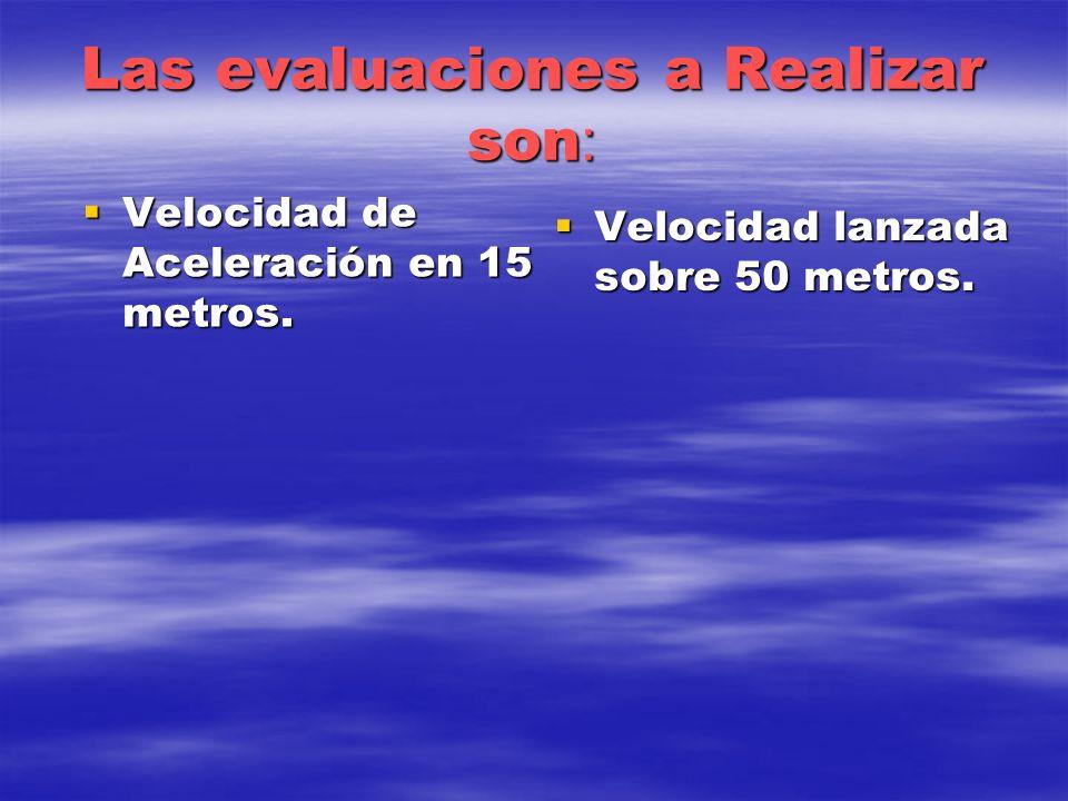 Las evaluaciones a Realizar son : Velocidad de Aceleración en 15 metros. Velocidad de Aceleración en 15 metros. Velocidad lanzada sobre 50 metros. Vel