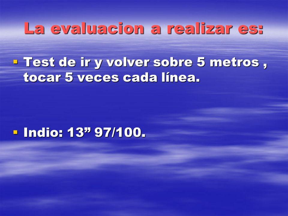 La evaluacion a realizar es: Test de ir y volver sobre 5 metros, tocar 5 veces cada línea. Test de ir y volver sobre 5 metros, tocar 5 veces cada líne