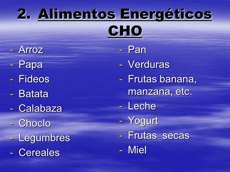 2.A limentos Energéticos CHO -Arroz -Papa -Fideos -Batata -Calabaza -Choclo -Legumbres -Cereales -Pan -Verduras -Frutas banana, manzana, etc. -Leche -