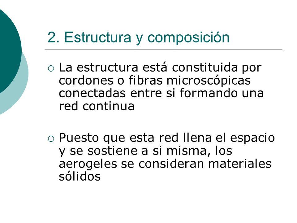 2. Estructura y composición La estructura está constituida por cordones o fibras microscópicas conectadas entre si formando una red continua Puesto qu