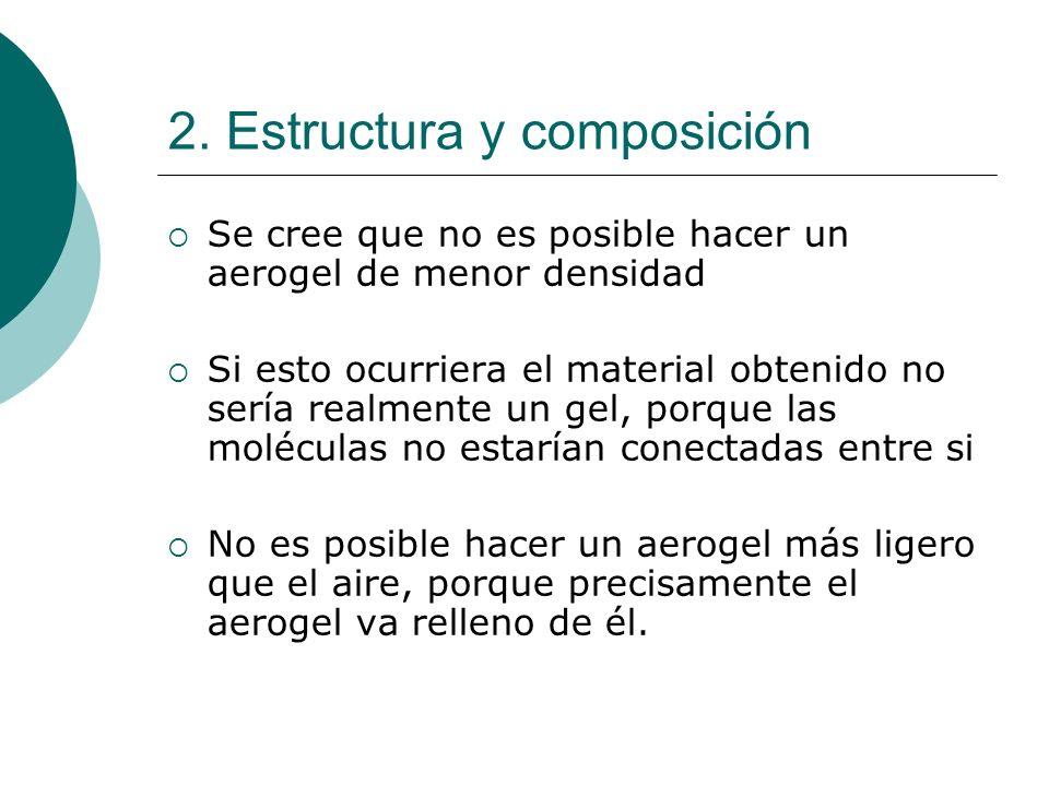 2. Estructura y composición Se cree que no es posible hacer un aerogel de menor densidad Si esto ocurriera el material obtenido no sería realmente un