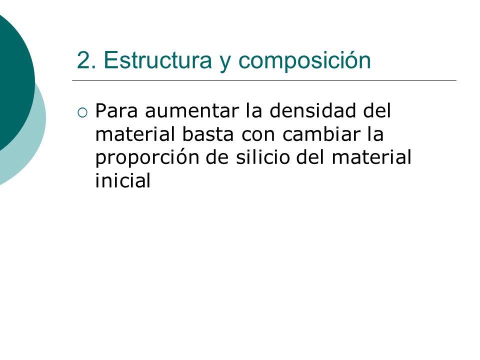2. Estructura y composición Para aumentar la densidad del material basta con cambiar la proporción de silicio del material inicial