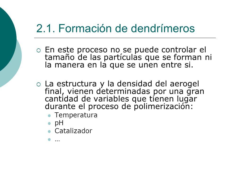 2.1. Formación de dendrímeros En este proceso no se puede controlar el tamaño de las partículas que se forman ni la manera en la que se unen entre si.