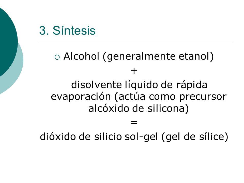 3. Síntesis Alcohol (generalmente etanol) + disolvente líquido de rápida evaporación (actúa como precursor alcóxido de silicona) = dióxido de silicio
