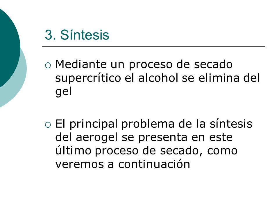 3. Síntesis Mediante un proceso de secado supercrítico el alcohol se elimina del gel El principal problema de la síntesis del aerogel se presenta en e