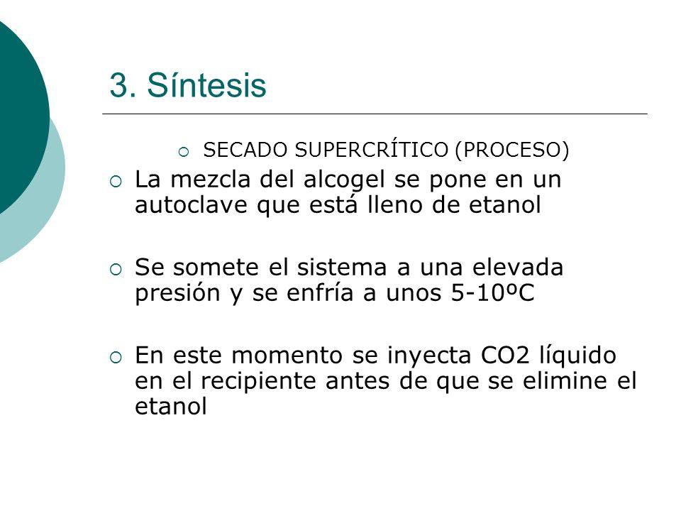 3. Síntesis SECADO SUPERCRÍTICO (PROCESO) La mezcla del alcogel se pone en un autoclave que está lleno de etanol Se somete el sistema a una elevada pr