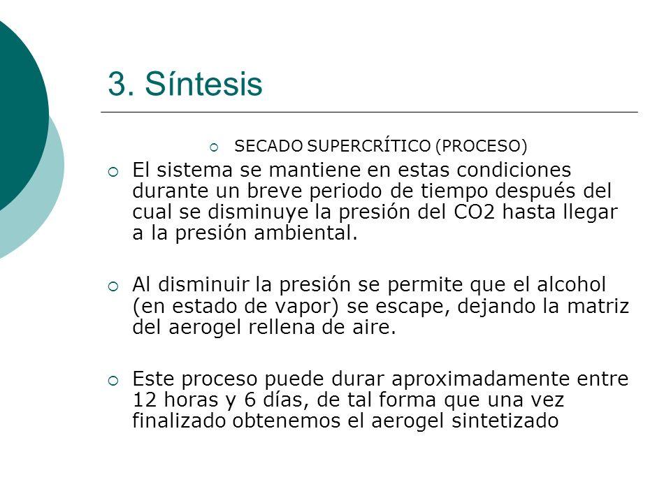 3. Síntesis SECADO SUPERCRÍTICO (PROCESO) El sistema se mantiene en estas condiciones durante un breve periodo de tiempo después del cual se disminuye