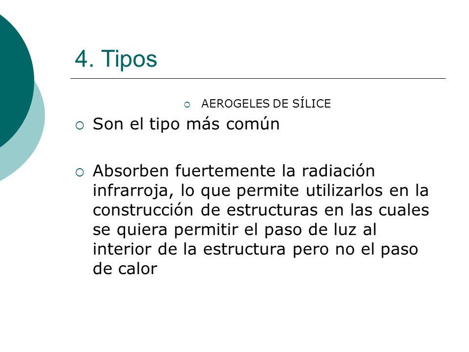 4. Tipos AEROGELES DE SÍLICE Son el tipo más común Absorben fuertemente la radiación infrarroja, lo que permite utilizarlos en la construcción de estr