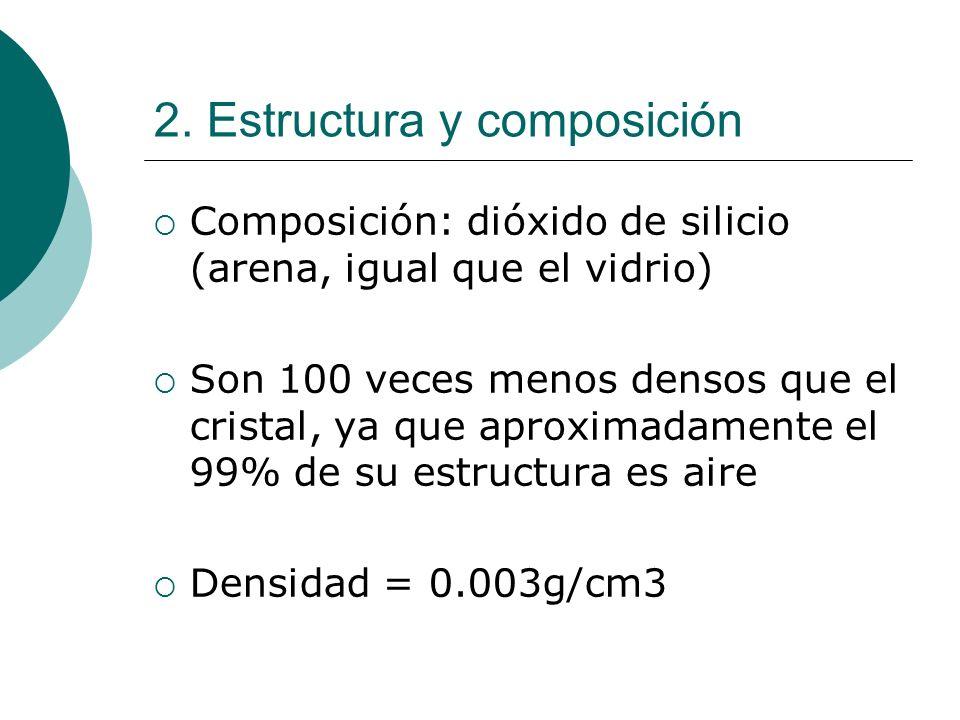 2. Estructura y composición Composición: dióxido de silicio (arena, igual que el vidrio) Son 100 veces menos densos que el cristal, ya que aproximadam