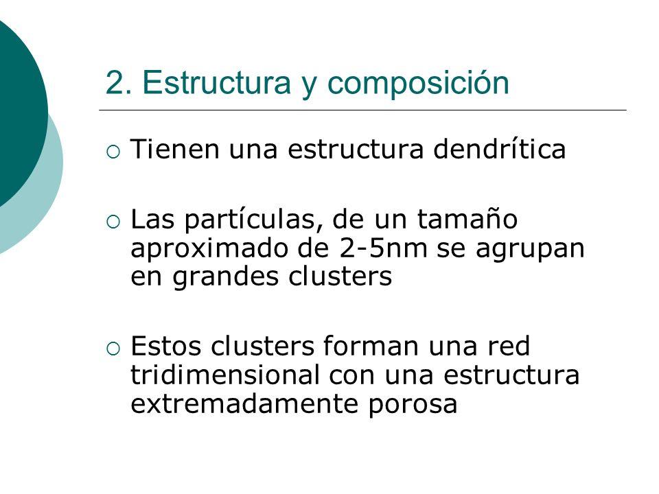 2. Estructura y composición Tienen una estructura dendrítica Las partículas, de un tamaño aproximado de 2-5nm se agrupan en grandes clusters Estos clu