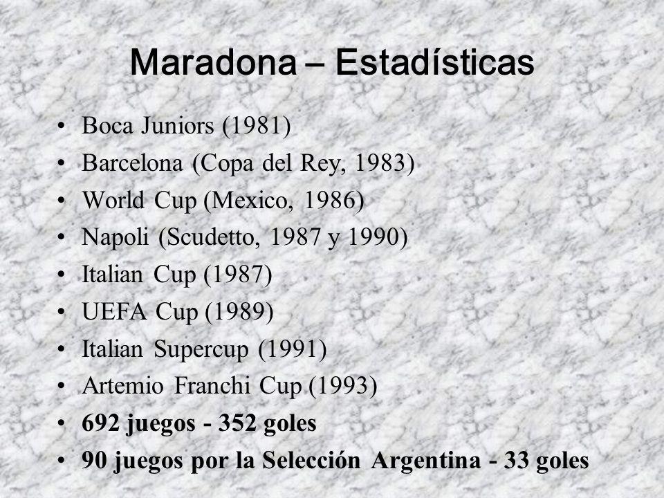 Maradona – Estadísticas Boca Juniors (1981) Barcelona (Copa del Rey, 1983) World Cup (Mexico, 1986) Napoli (Scudetto, 1987 y 1990) Italian Cup (1987)