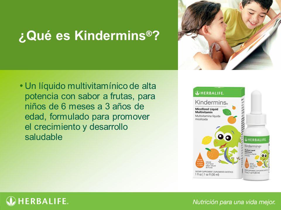 ¿Qué es Kindermins ® ? Un líquido multivitamínico de alta potencia con sabor a frutas, para niños de 6 meses a 3 años de edad, formulado para promover