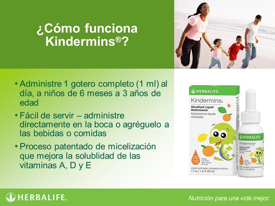 ¿Cómo funciona Kindermins ® ? Administre 1 gotero completo (1 ml) al día, a niños de 6 meses a 3 años de edad Fácil de servir – administre directament
