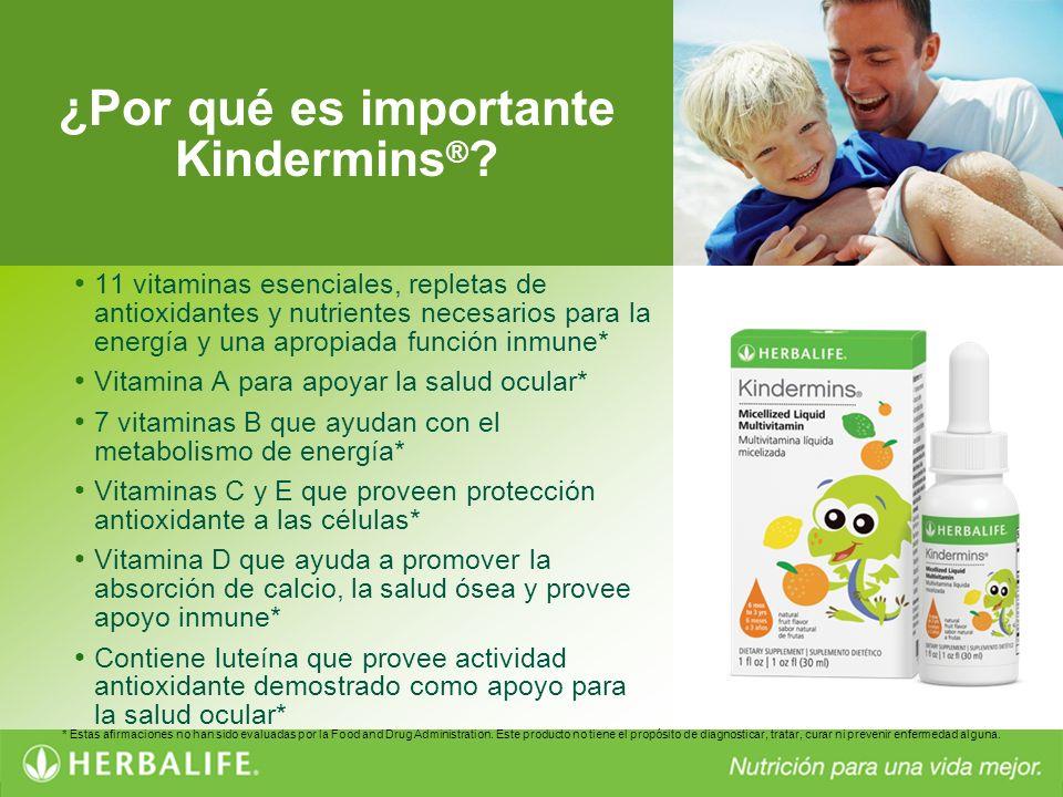 ¿Por qué es importante Kindermins ® ? 11 vitaminas esenciales, repletas de antioxidantes y nutrientes necesarios para la energía y una apropiada funci
