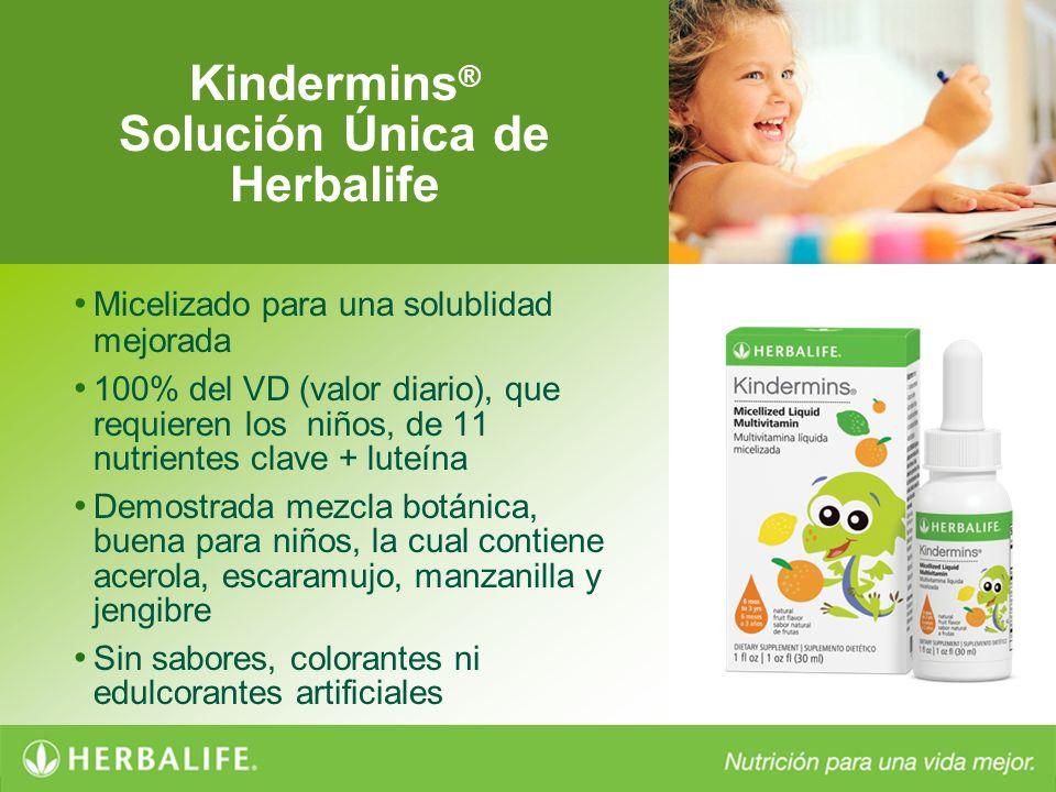 Kindermins ® Solución Única de Herbalife Micelizado para una solublidad mejorada 100% del VD (valor diario), que requieren los niños, de 11 nutrientes
