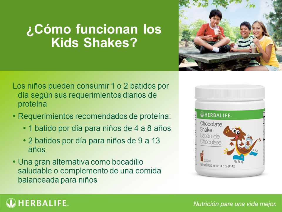 ¿Cómo funcionan los Kids Shakes? Los niños pueden consumir 1 o 2 batidos por día según sus requerimientos diarios de proteína Requerimientos recomenda