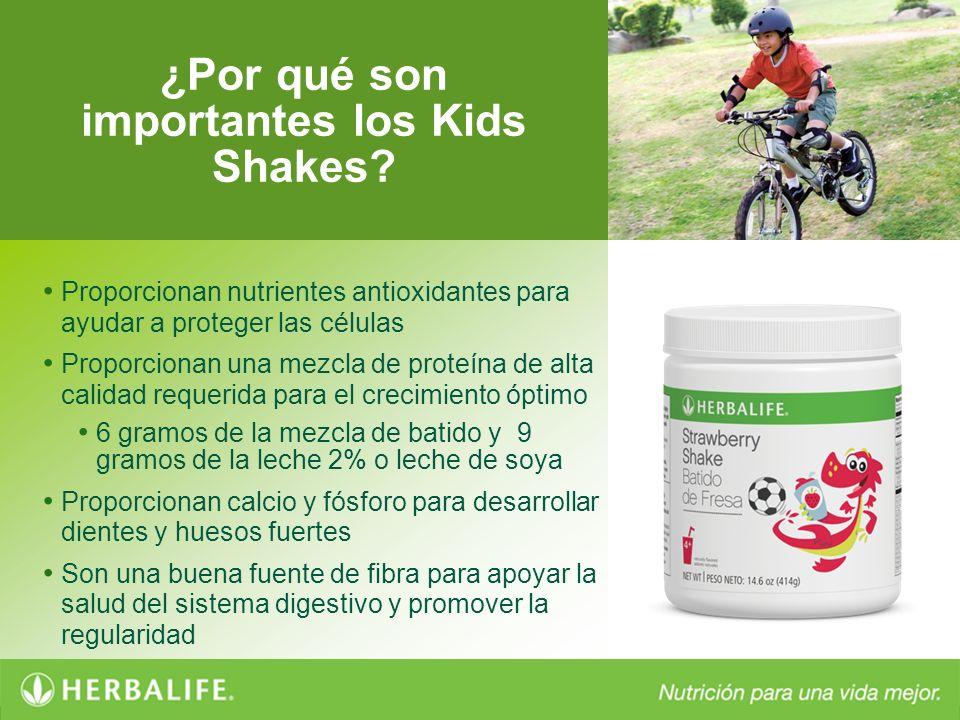 ¿Por qué son importantes los Kids Shakes? Proporcionan nutrientes antioxidantes para ayudar a proteger las células Proporcionan una mezcla de proteína
