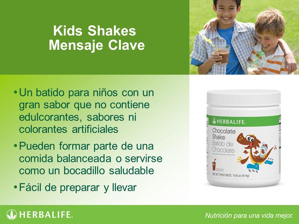 Kids Shakes Mensaje Clave Un batido para niños con un gran sabor que no contiene edulcorantes, sabores ni colorantes artificiales Pueden formar parte