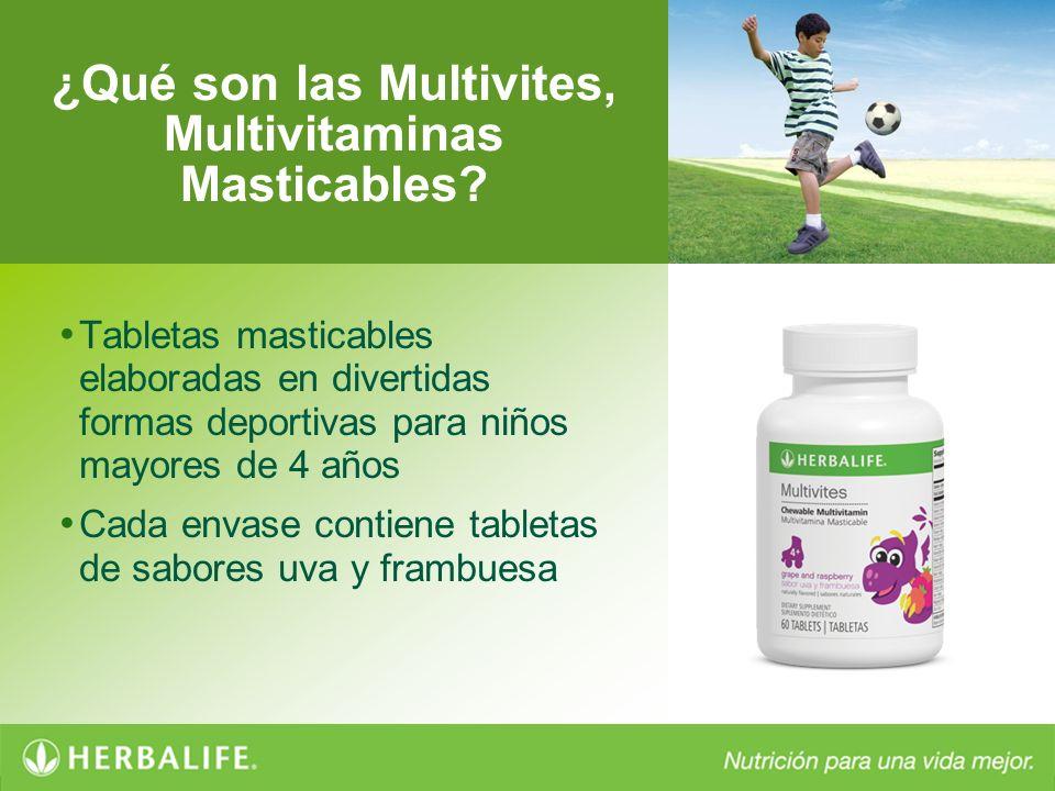 ¿Qué son las Multivites, Multivitaminas Masticables? Tabletas masticables elaboradas en divertidas formas deportivas para niños mayores de 4 años Cada