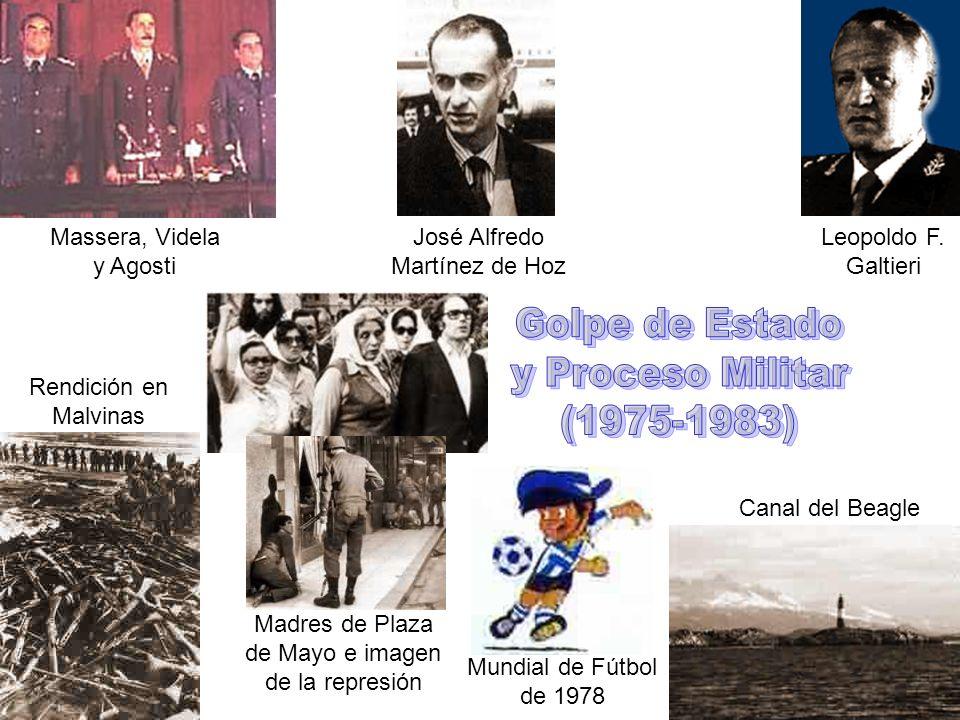 José Alfredo Martínez de Hoz Leopoldo F. Galtieri Massera, Videla y Agosti Canal del Beagle Mundial de Fútbol de 1978 Madres de Plaza de Mayo e imagen