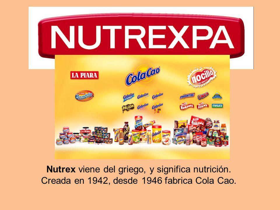 Nutrex viene del griego, y significa nutrición. Creada en 1942, desde 1946 fabrica Cola Cao.