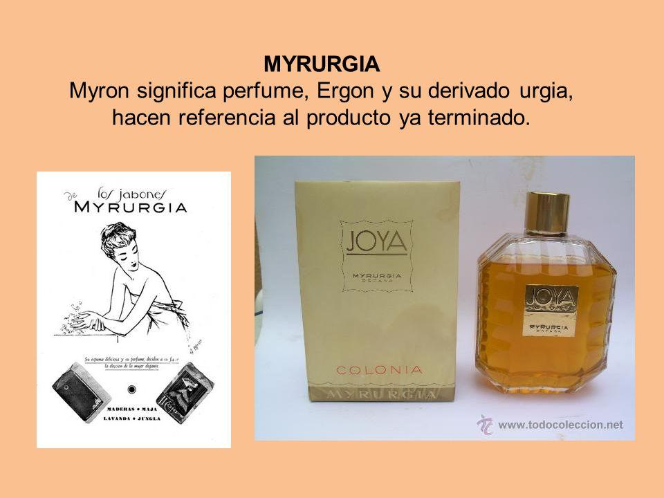 MYRURGIA Myron significa perfume, Ergon y su derivado urgia, hacen referencia al producto ya terminado.