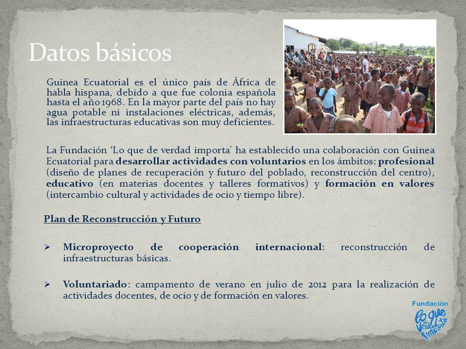 Durante el último año, la Fundación LQDVI mantiene contacto con representantes de la Congregación de los Hijos de la Inmaculada Concepción en Guinea Ecuatorial, que se encuentra situada en el poblado de Nsuemang, en la ciudad de Bata, donde en 1987 fundaron el Colegio Católico Padre Luis Monti.