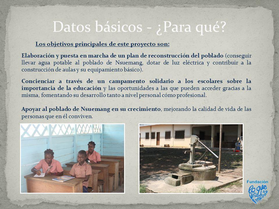 Los objetivos principales de este proyecto son: Elaboración y puesta en marcha de un plan de reconstrucción del poblado (conseguir llevar agua potable
