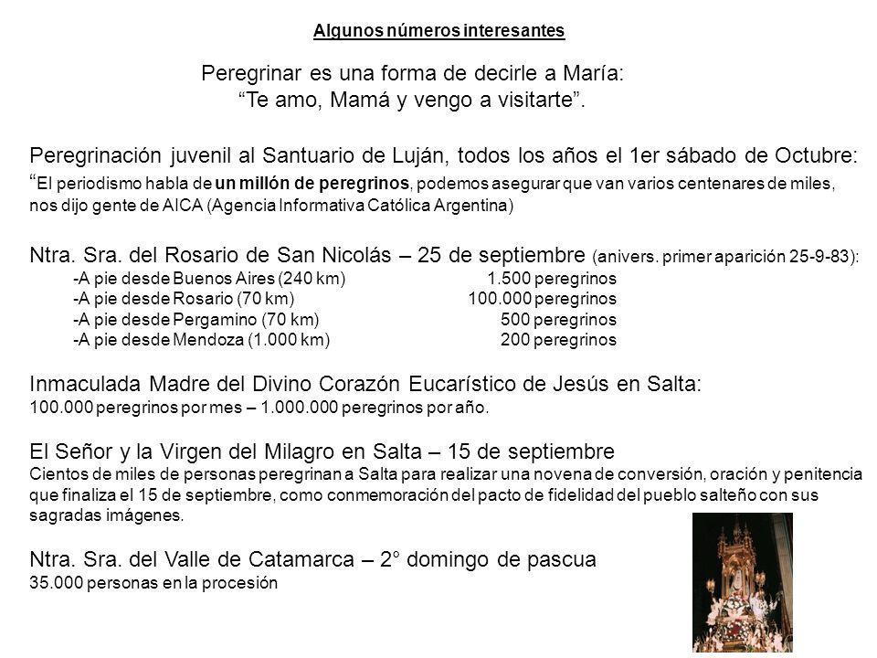 Los argentinos amamos y veneramos a la Santísima Virgen Los jóvenes organizan peregrinaciones a pie a Luján, partiendo desde la Ciudad de B. Aires N.S