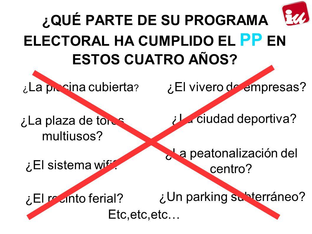 ¿QUÉ PARTE DE SU PROGRAMA ELECTORAL HA CUMPLIDO EL PP EN ESTOS CUATRO AÑOS.