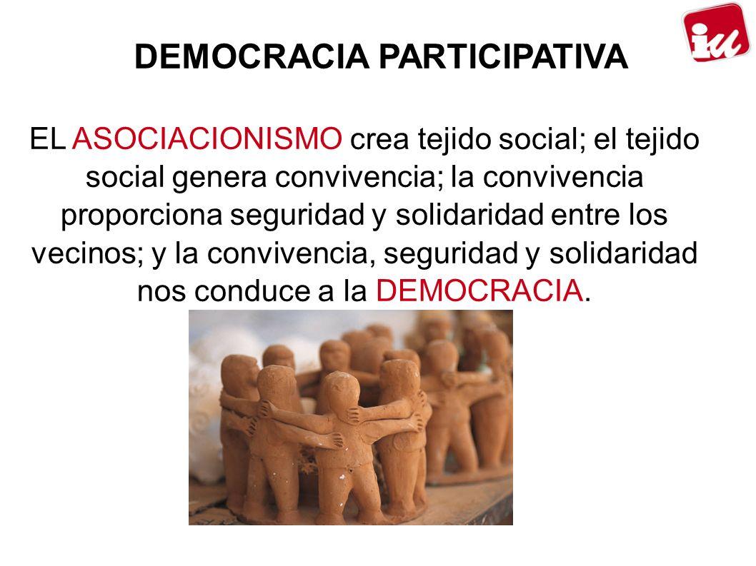DEMOCRACIA PARTICIPATIVA EL ASOCIACIONISMO crea tejido social; el tejido social genera convivencia; la convivencia proporciona seguridad y solidaridad entre los vecinos; y la convivencia, seguridad y solidaridad nos conduce a la DEMOCRACIA.