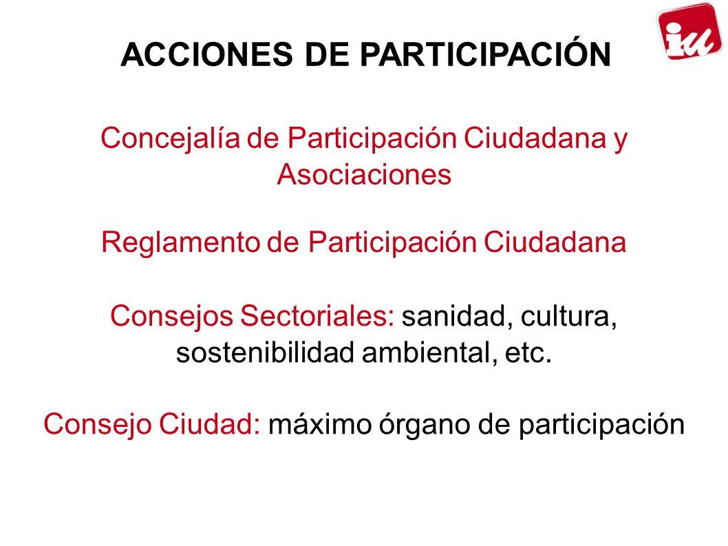 ACCIONES DE PARTICIPACIÓN Concejalía de Participación Ciudadana y Asociaciones Reglamento de Participación Ciudadana Consejos Sectoriales: sanidad, cultura, sostenibilidad ambiental, etc.