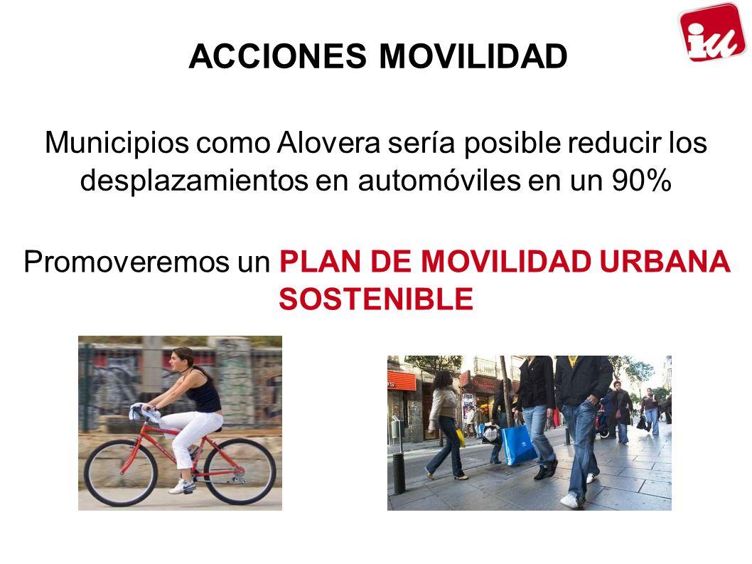 ACCIONES MOVILIDAD Municipios como Alovera sería posible reducir los desplazamientos en automóviles en un 90% Promoveremos un PLAN DE MOVILIDAD URBANA SOSTENIBLE