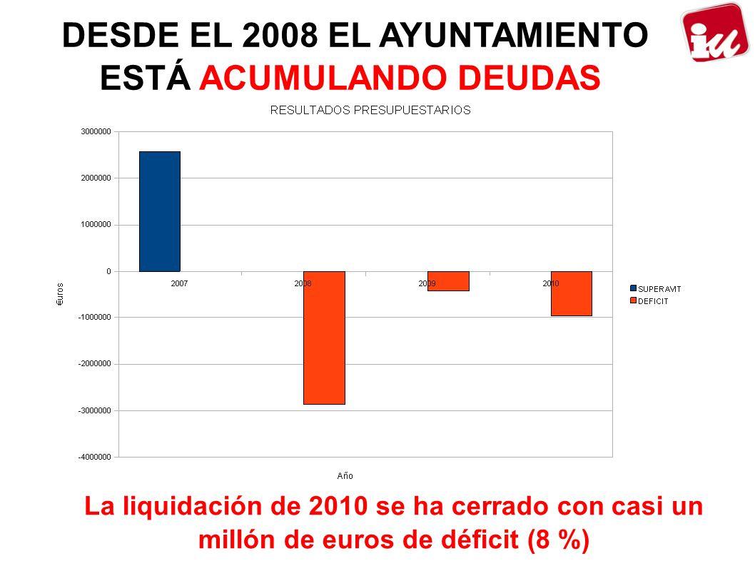 DESDE EL 2008 EL AYUNTAMIENTO ESTÁ ACUMULANDO DEUDAS La liquidación de 2010 se ha cerrado con casi un millón de euros de déficit (8 %)
