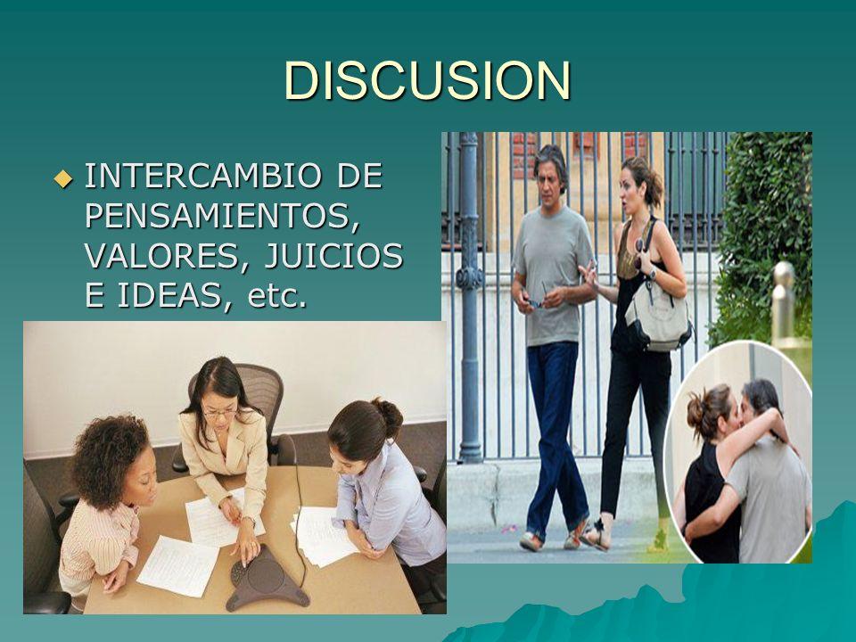 DISCUSION INTERCAMBIO DE PENSAMIENTOS, VALORES, JUICIOS E IDEAS, etc.