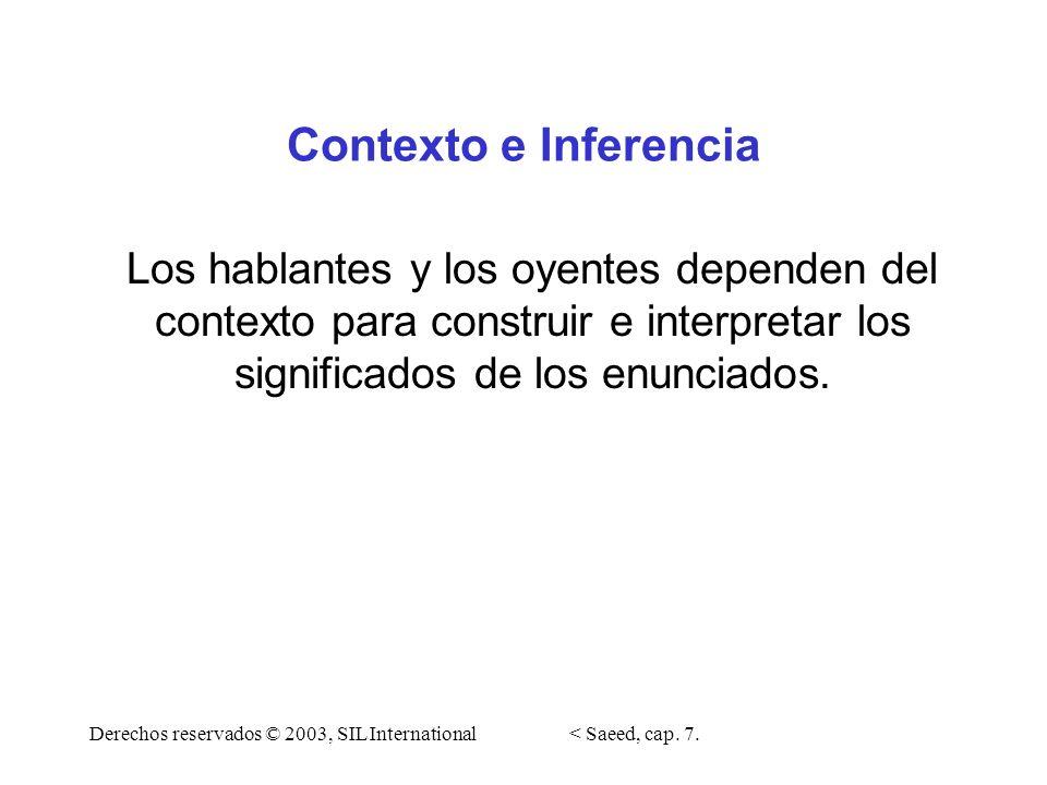 Contexto e Inferencia Los hablantes y los oyentes dependen del contexto para construir e interpretar los significados de los enunciados. Derechos rese