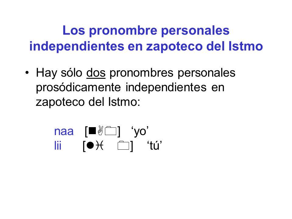 Los pronombre personales independientes en zapoteco del Istmo Hay sólo dos pronombres personales prosódicamente independientes en zapoteco del Istmo:
