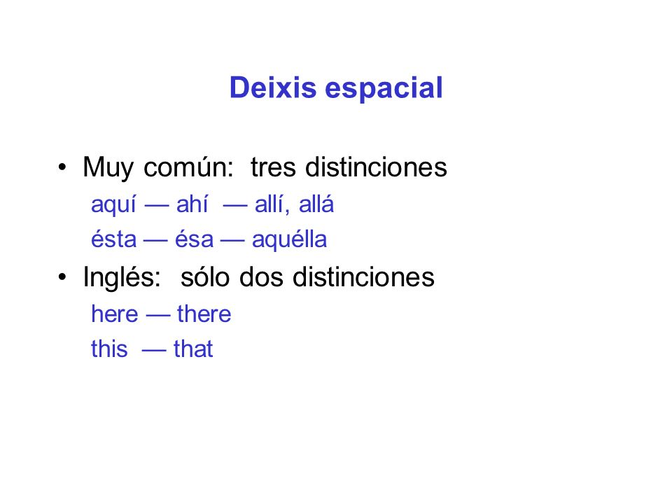 Deixis espacial Muy común: tres distinciones aquí ahí allí, allá ésta ésa aquélla Inglés: sólo dos distinciones here there this that