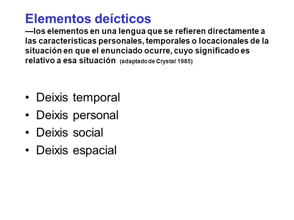 Elementos deícticos los elementos en una lengua que se refieren directamente a las características personales, temporales o locacionales de la situaci
