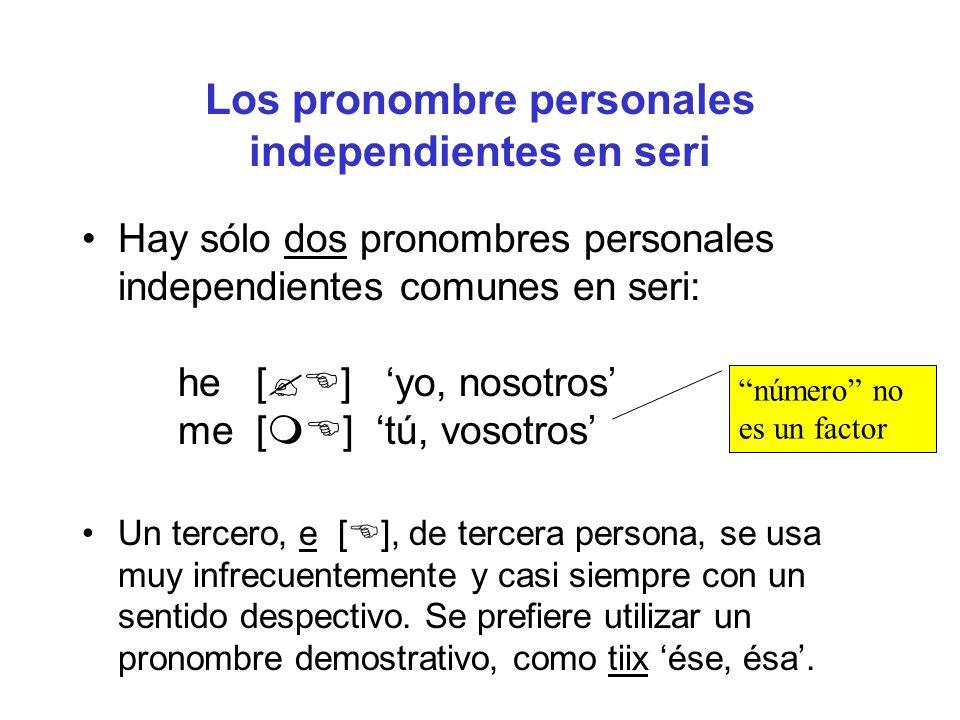 En el sistema de concordancia, hay tres personas y diferencia singular/plural para sujeto Sujeto 1sgh- (trans.), hp- (intrans.) 2sgm- 1pl ha- 2pl ma- 3(no marcado; la ausencia de marcador indica tercera persona)