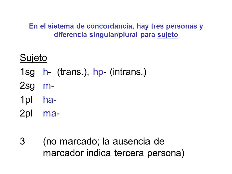 En el sistema de concordancia, hay tres personas y diferencia singular/plural para complemento directo Complemento Directo 1sghim- 2sgma- 1pl hizi- o hazi- (variación dialectal) 2pl mazi- 3 (no marcado; la ausencia de marcador indica tercera persona; bajo ciertas condiciones, se utiliza un prefijo i-)