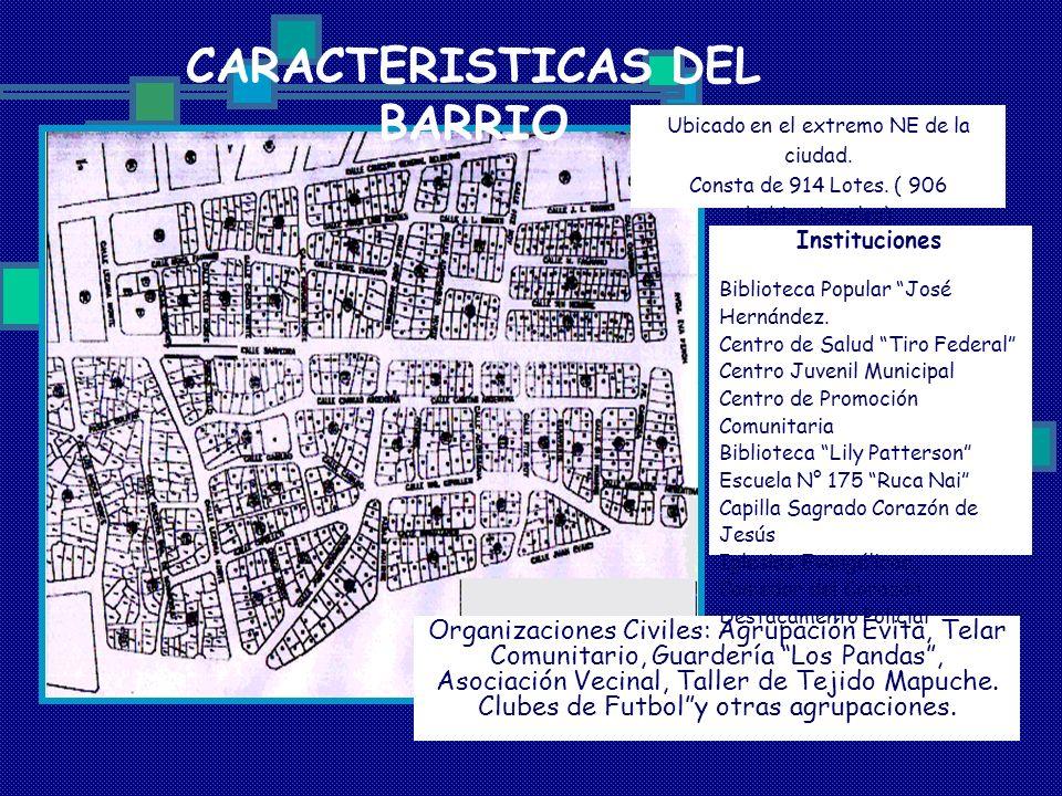 CARACTERISTICAS DEL BARRIO Organizaciones Civiles: Agrupación Evita, Telar Comunitario, Guardería Los Pandas, Asociación Vecinal, Taller de Tejido Map