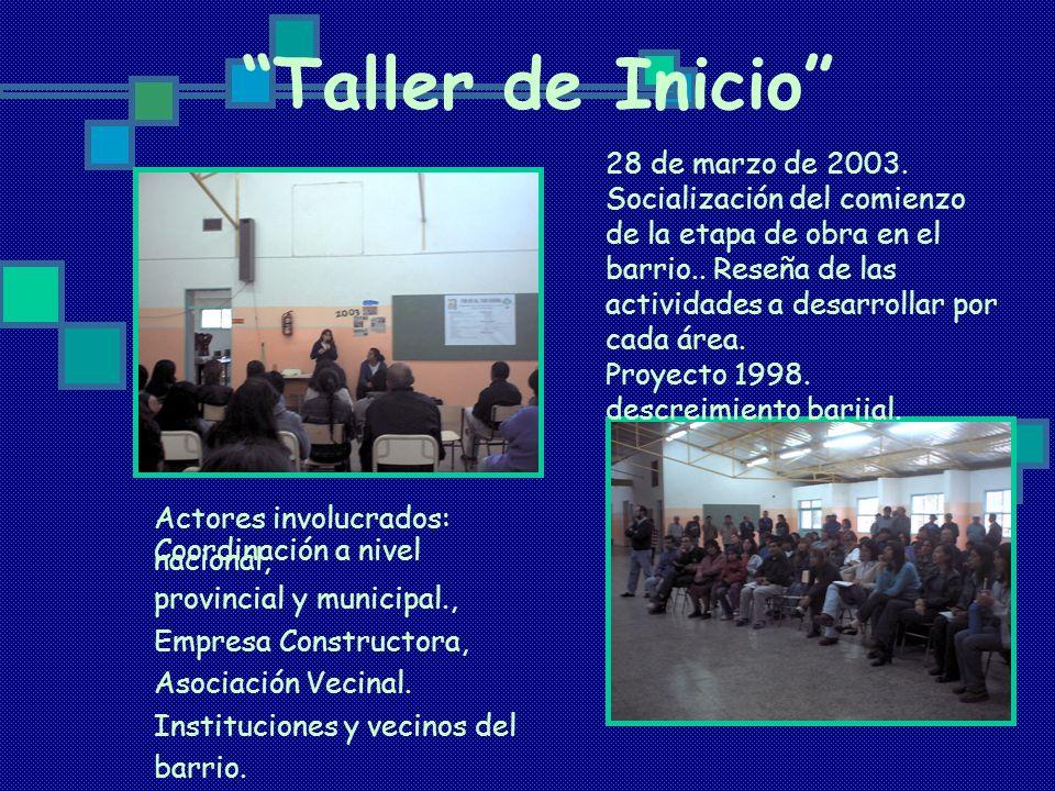Taller de Inicio 28 de marzo de 2003. Socialización del comienzo de la etapa de obra en el barrio.. Reseña de las actividades a desarrollar por cada á