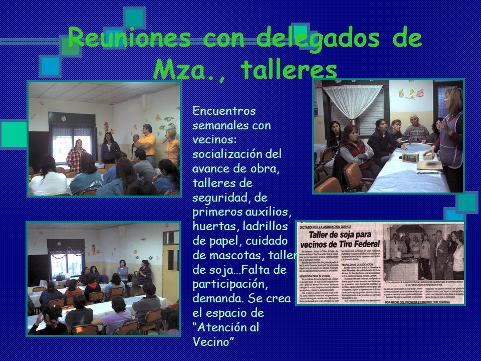 Reuniones con delegados de Mza., talleres Encuentros semanales con vecinos: socialización del avance de obra, talleres de seguridad, de primeros auxil