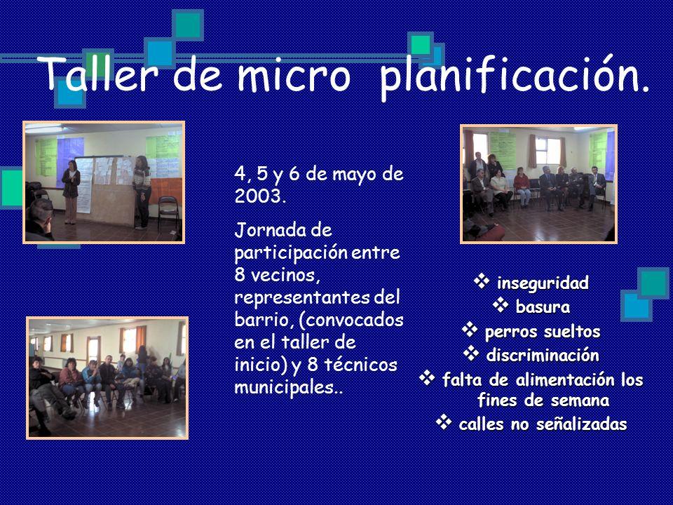Taller de micro planificación. inseguridad inseguridad basura basura perros sueltos perros sueltos discriminación discriminación falta de alimentación