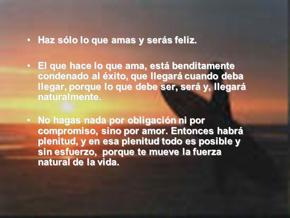 Haz sólo lo que amas y serás feliz.Haz sólo lo que amas y serás feliz. El que hace lo que ama, está benditamente condenado al éxito, que llegará cuand