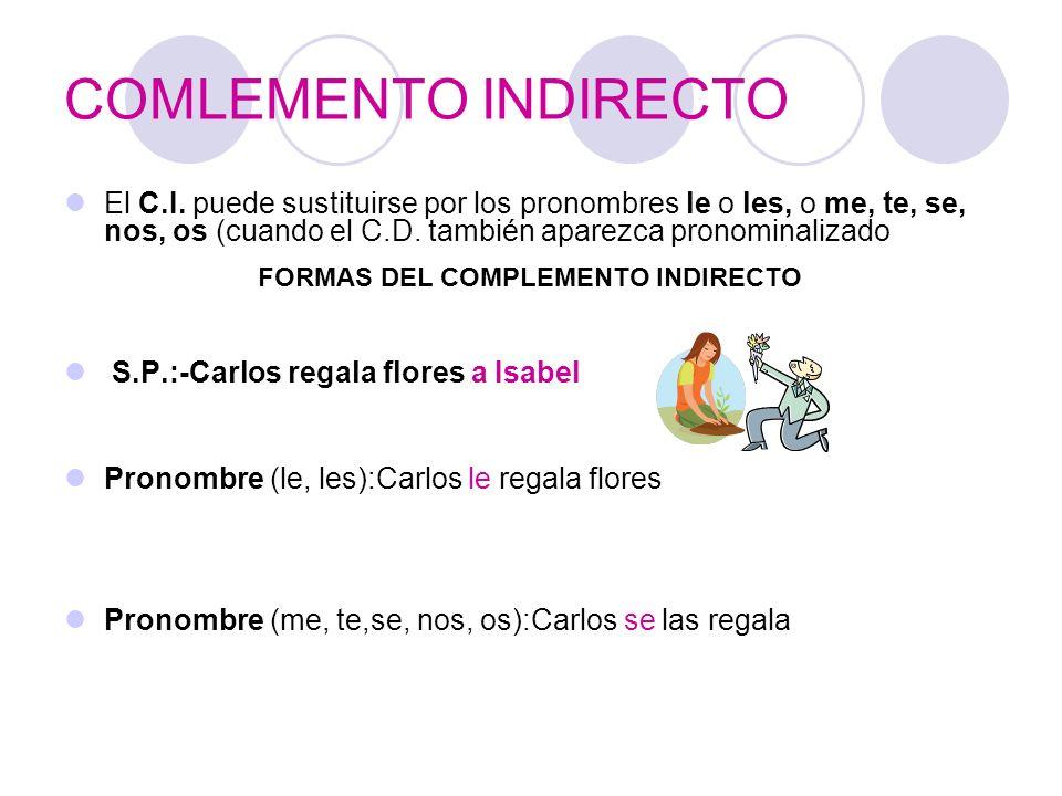 COMLEMENTO INDIRECTO El C.I. puede sustituirse por los pronombres le o les, o me, te, se, nos, os (cuando el C.D. también aparezca pronominalizado S.P